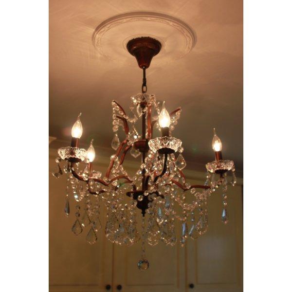 Chandelier Lighting Sale Uk: 5 Light Glass Chandelier, Bronze Finish