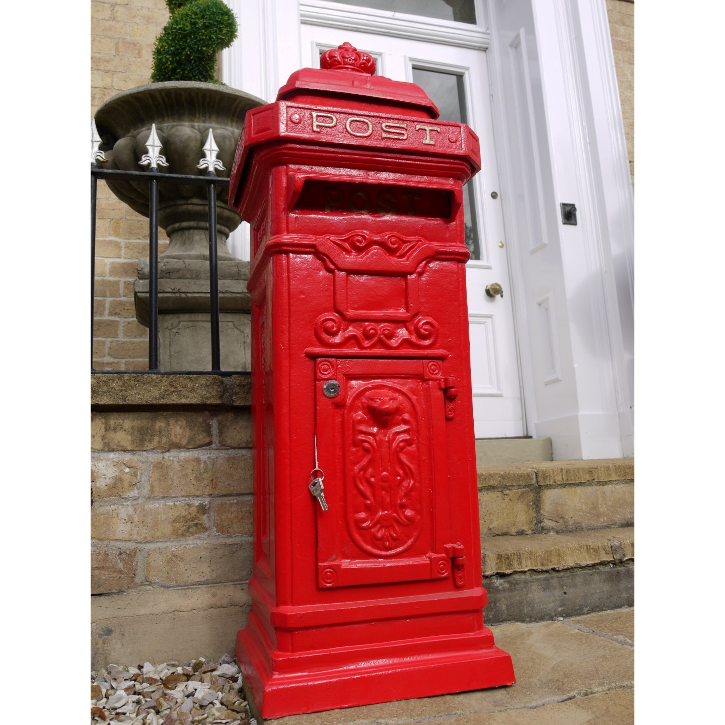 Cast Iron Post Box Free Standing Mailbox Red Swanky