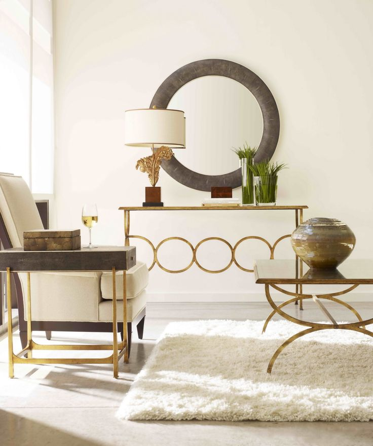 French Glass Gold Console Table