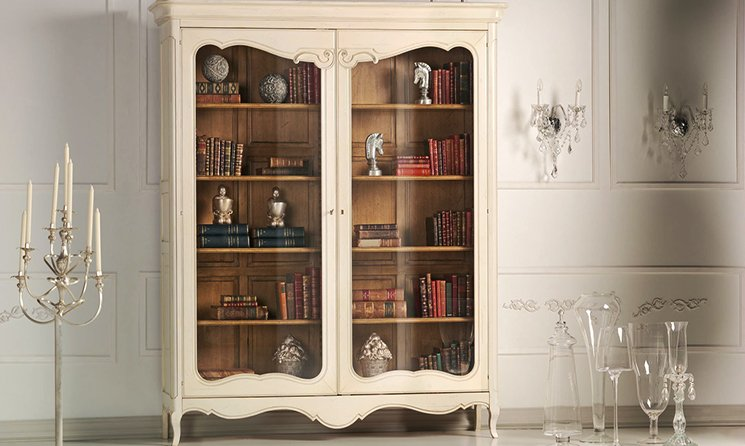 French Painted White Display Cabinet/Bookcase, Louis XV