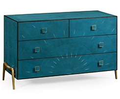 Blue Leather Chest Of Drawers