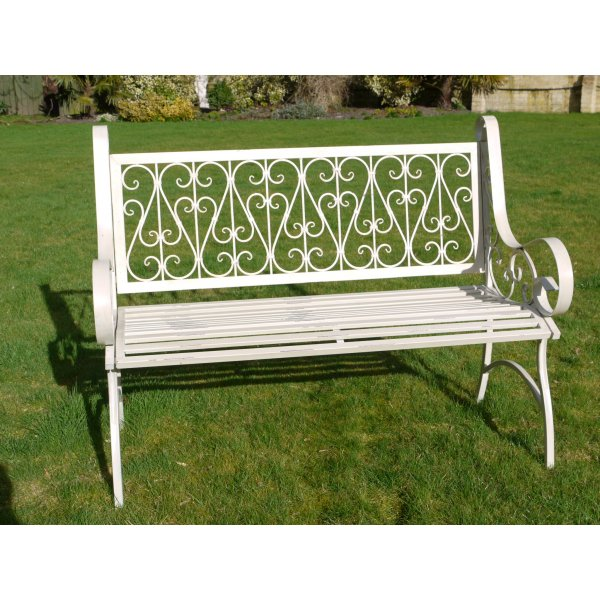 White Ornate Metal Garden Bench Swanky Interiors