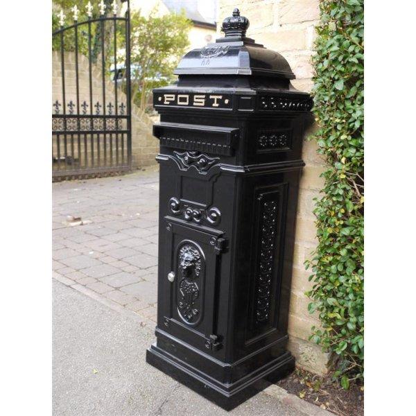 New Antique Victorian WHITE Aluminium Floor Mounted Locking Letter Post Mail Box