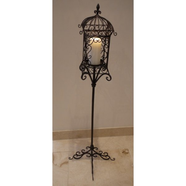 Tall Candle Holder Iron Lantern On Stand Swanky Interiors