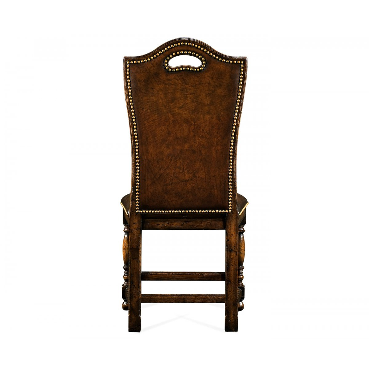Oak high back leather side dining chair swanky interiors for Leather back dining chairs