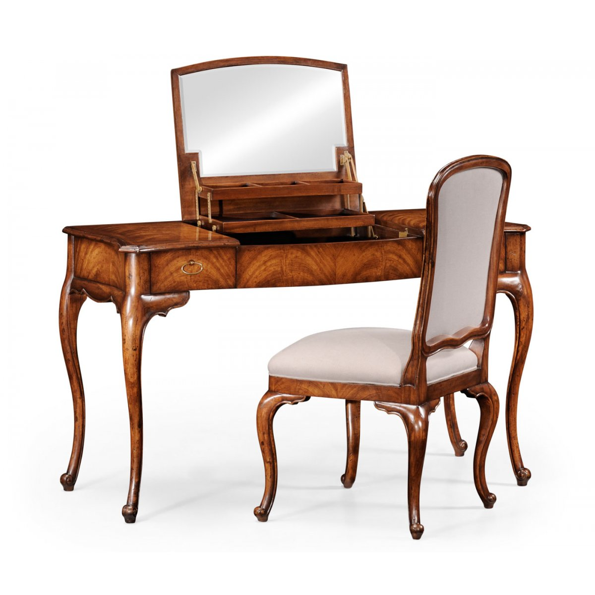 Walnut Dressing Table With Mirror Swanky Interiors
