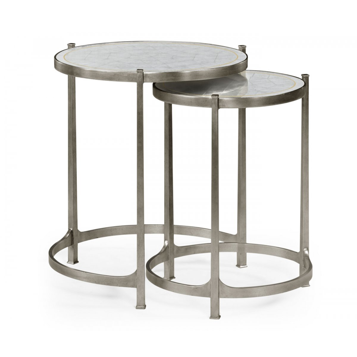 Jonathan Charles Furniture Nest Of Mirrored Tables, Silver ...