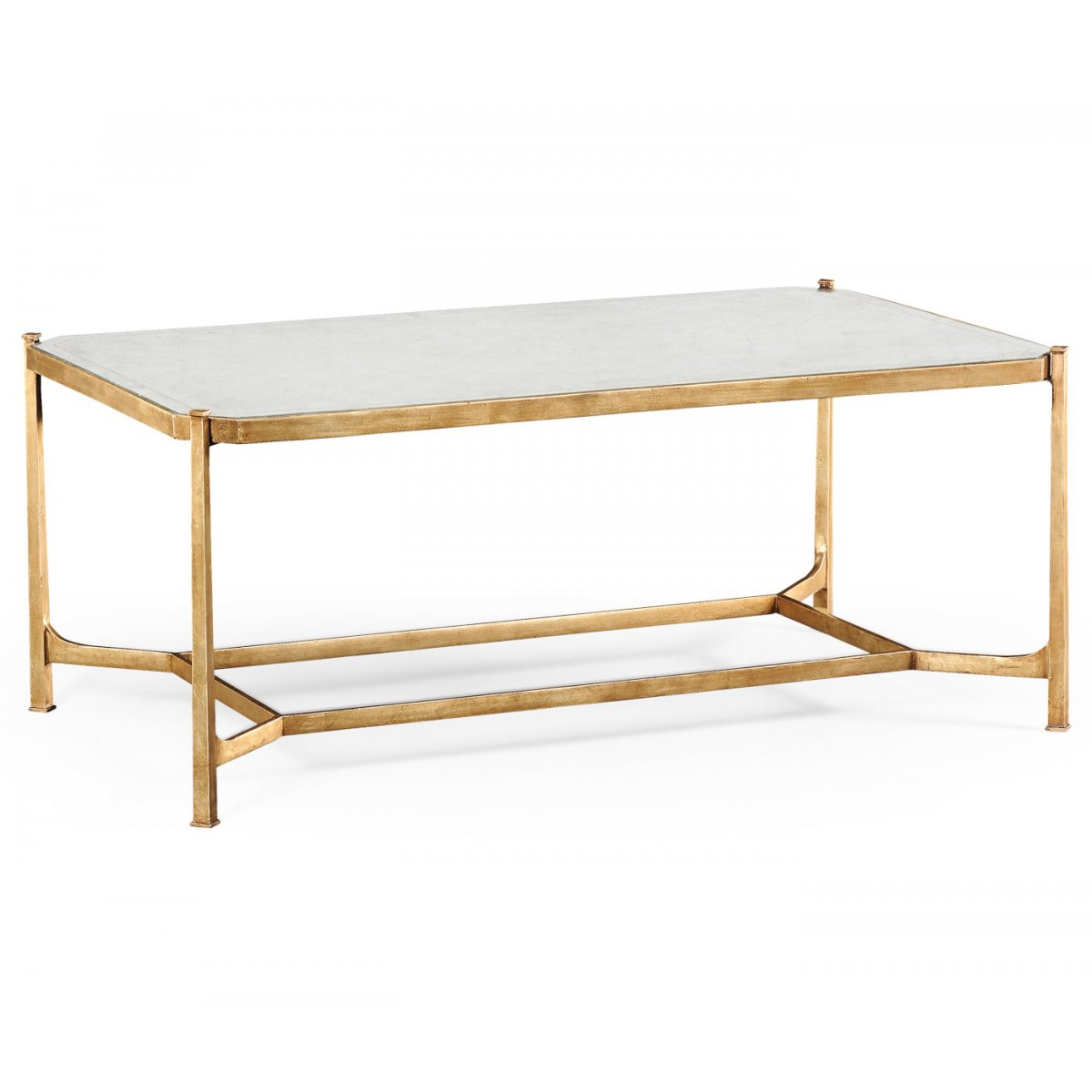 French Glass Gold Coffee Table Swanky Interiors