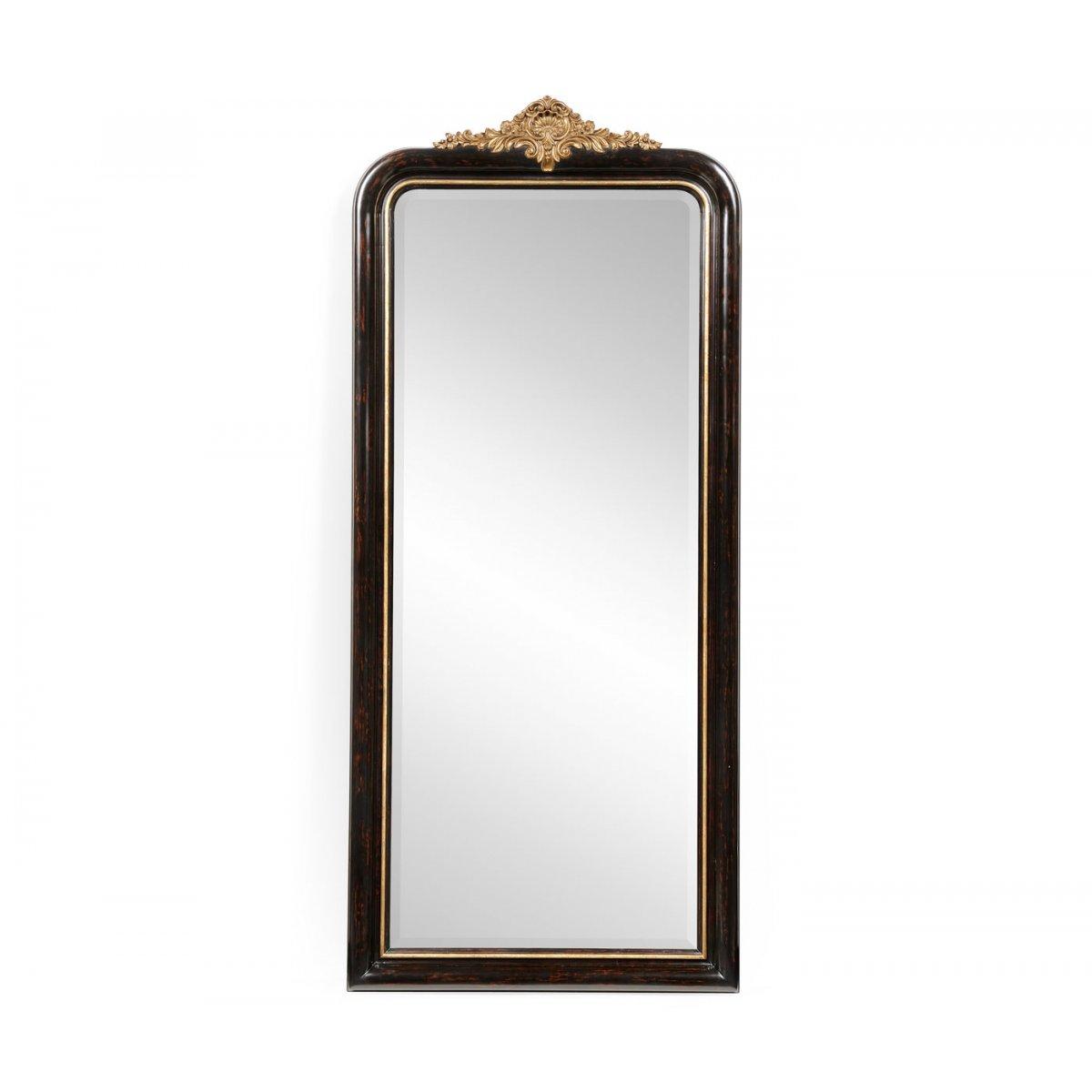 Full length black mirror gilded french style swanky for Black full length wall mirror