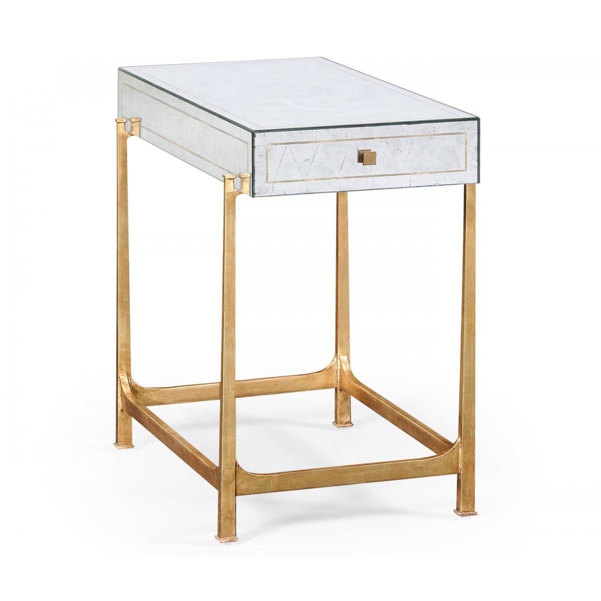 Glass Side Table Gold Mirrored Furniture Swanky Interiors