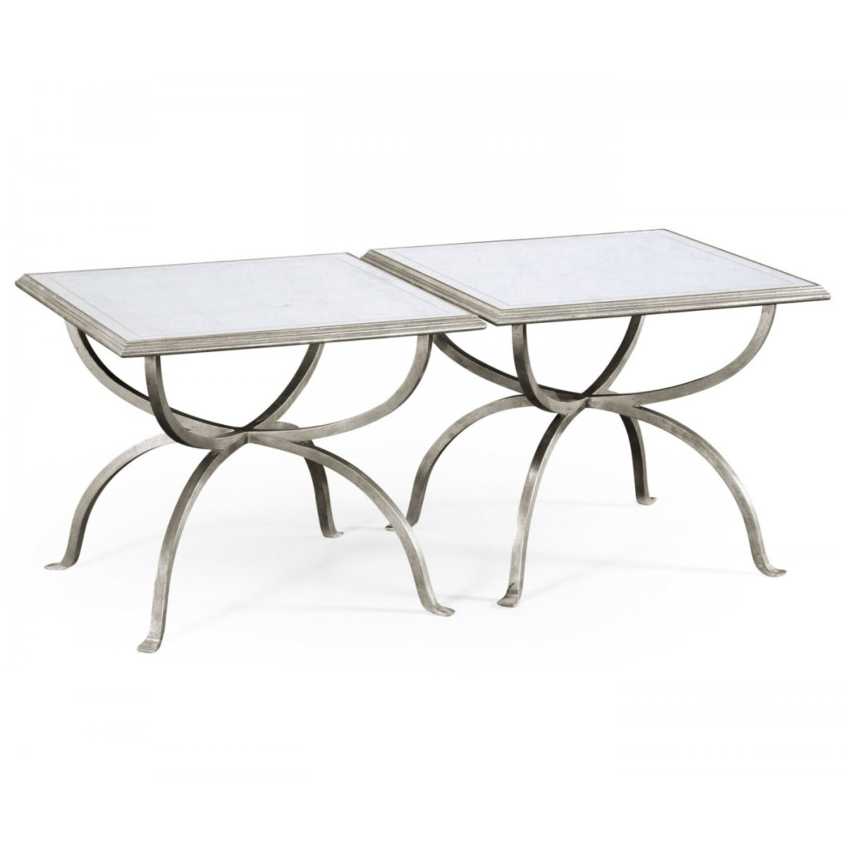 Silver Glass Coffee Table Set: Set Of 2 Silver Glass Coffee Tables