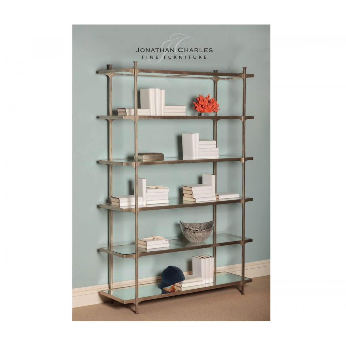 designer silver glass etagere display bookcase swanky. Black Bedroom Furniture Sets. Home Design Ideas