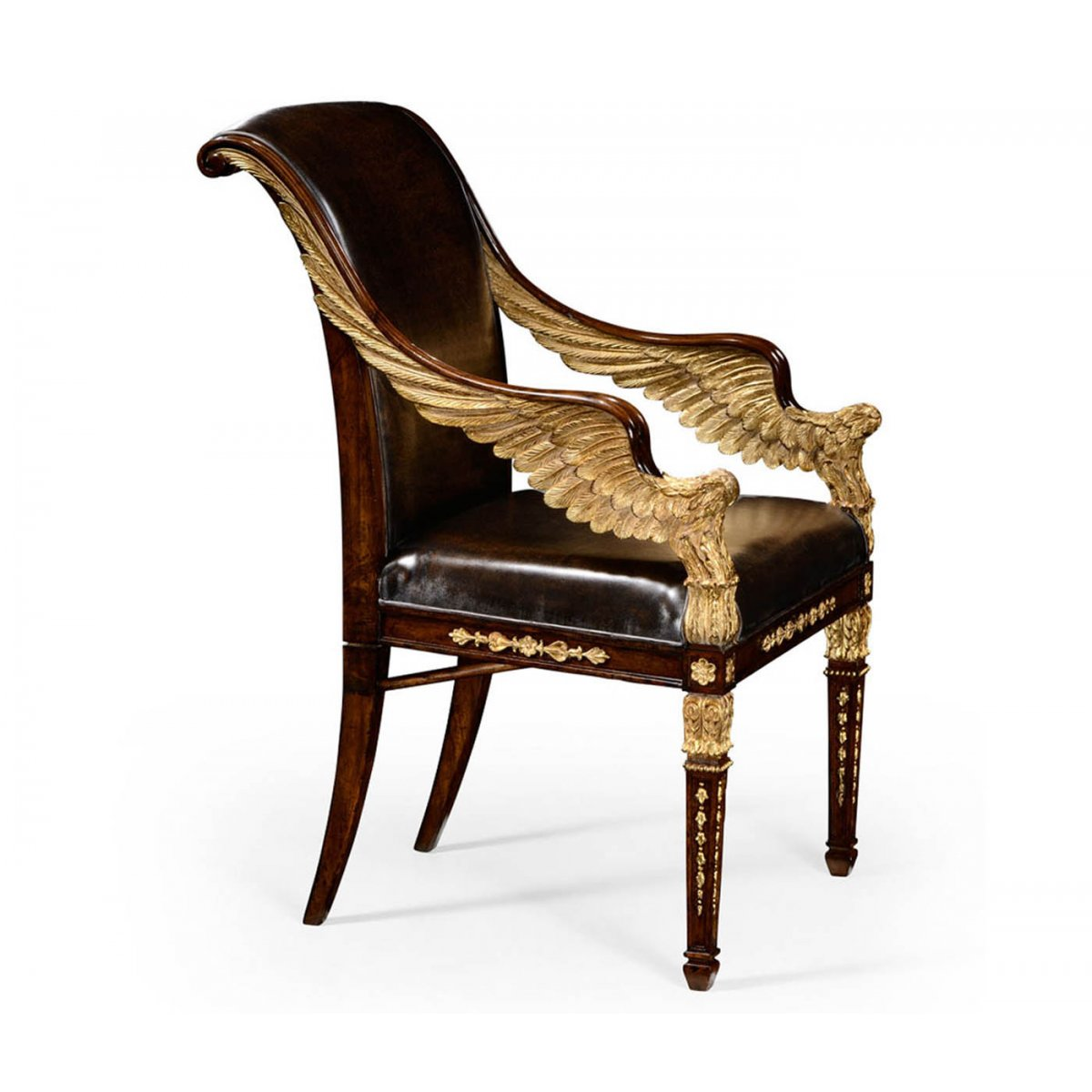 Designer Gilded Leather Armchair Swanky Interiors