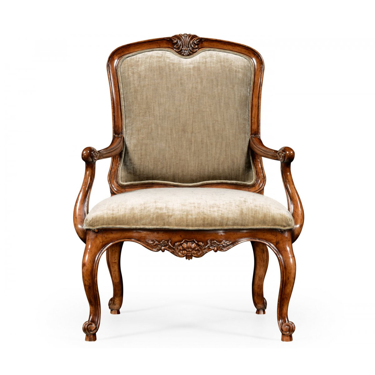 French Style Walnut Velvet Armchair | Swanky Interiors