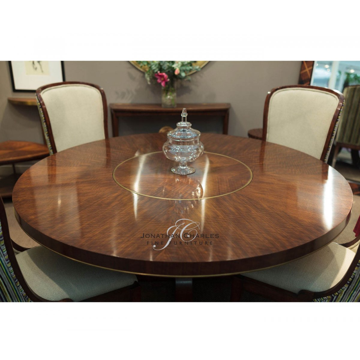 Jonathan Charles Furniture 8 Seater Round Dining Table With Lazy Susan Hyedua