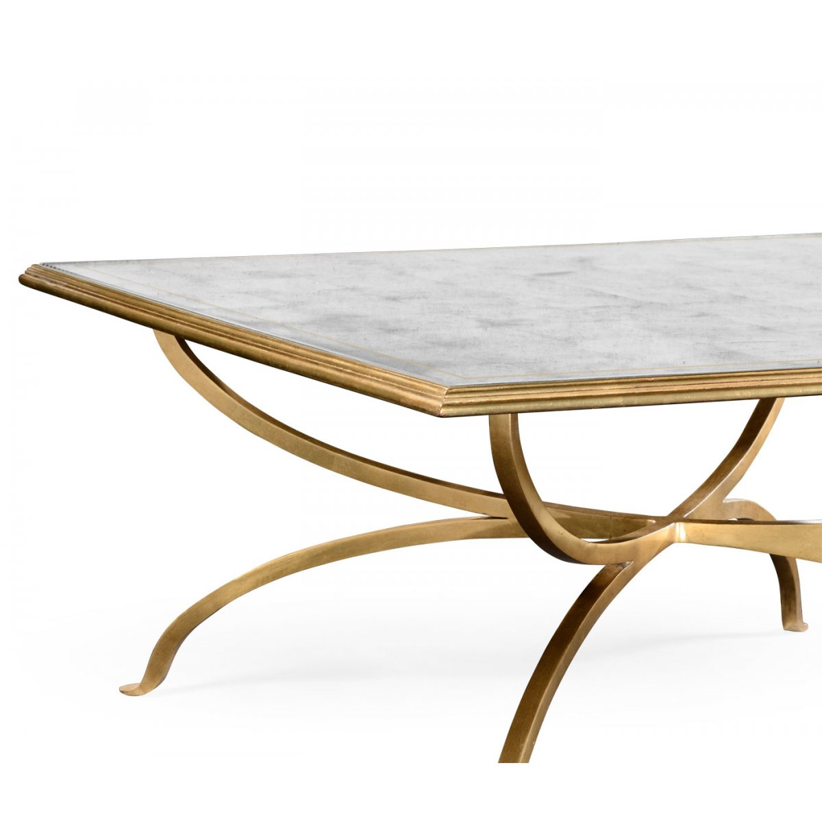 Gold Gilded Coffee Table: French Glass Square Coffee Table, Gold