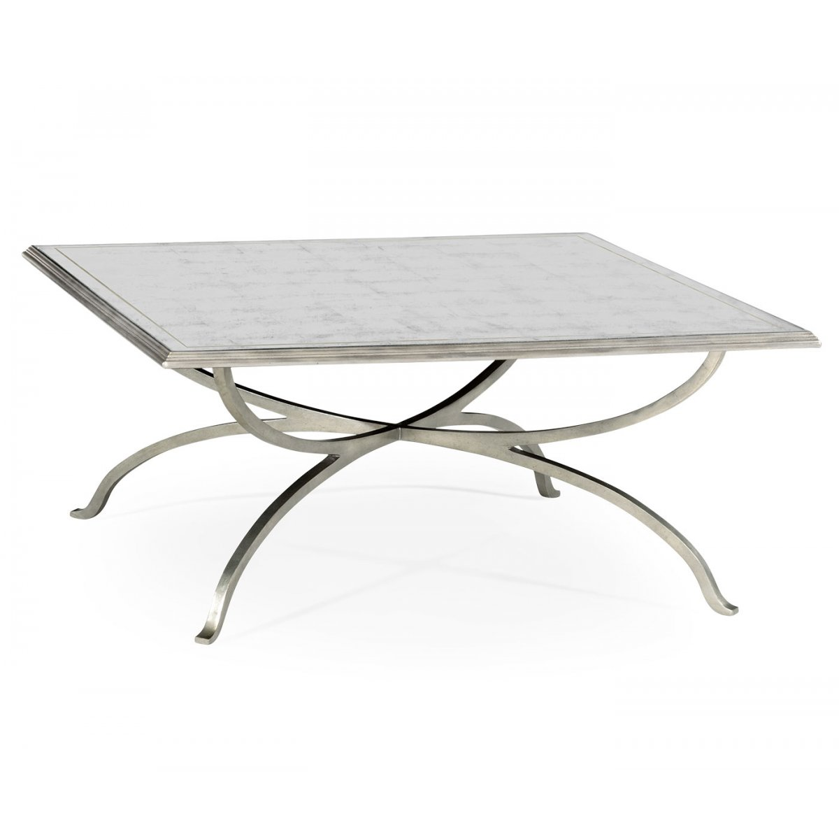 Glass And Silver Square Coffee Table: French Glass Square Coffee Table, Silver