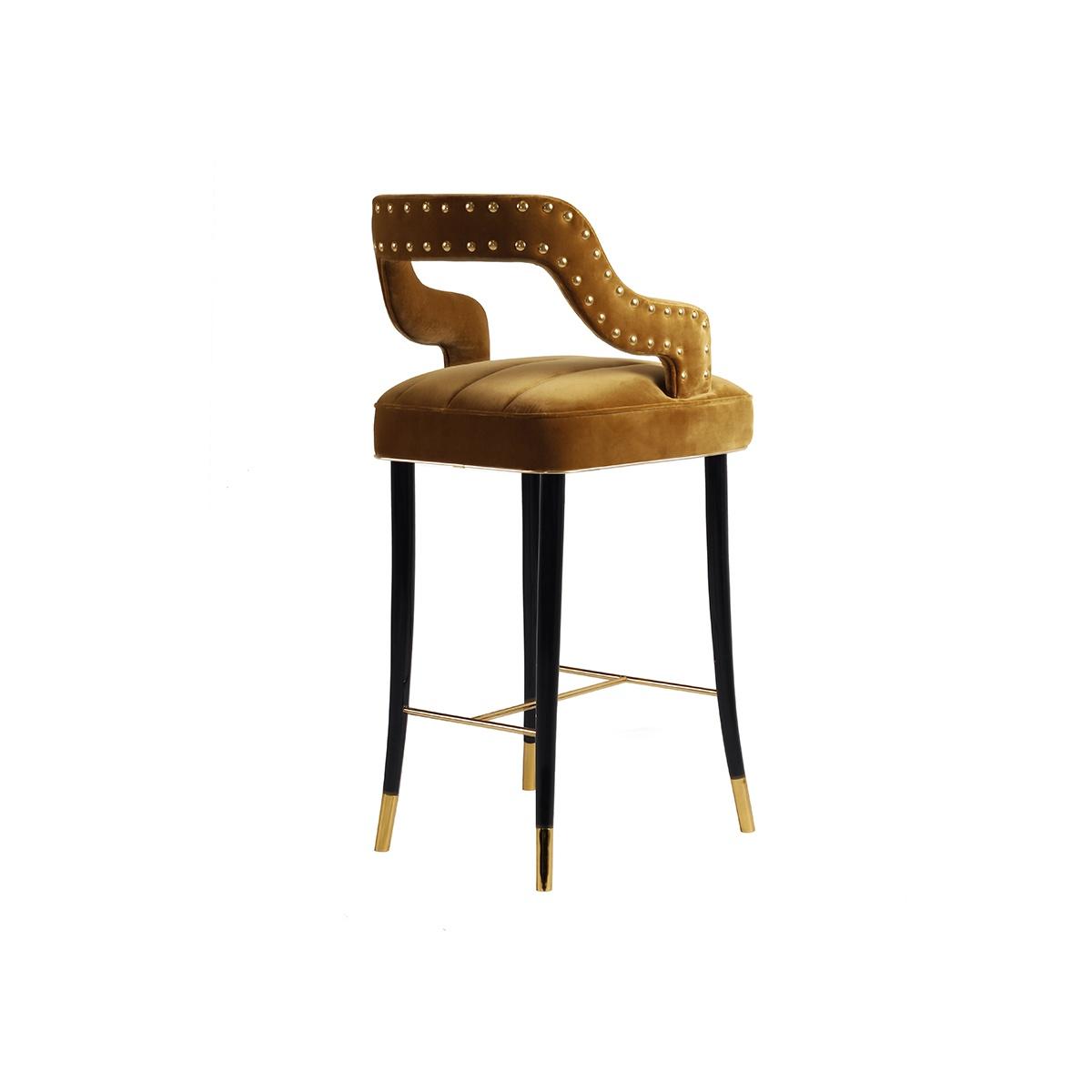 Kelly Velvet Bar Chair Designer Bar Chair Swanky Interiors