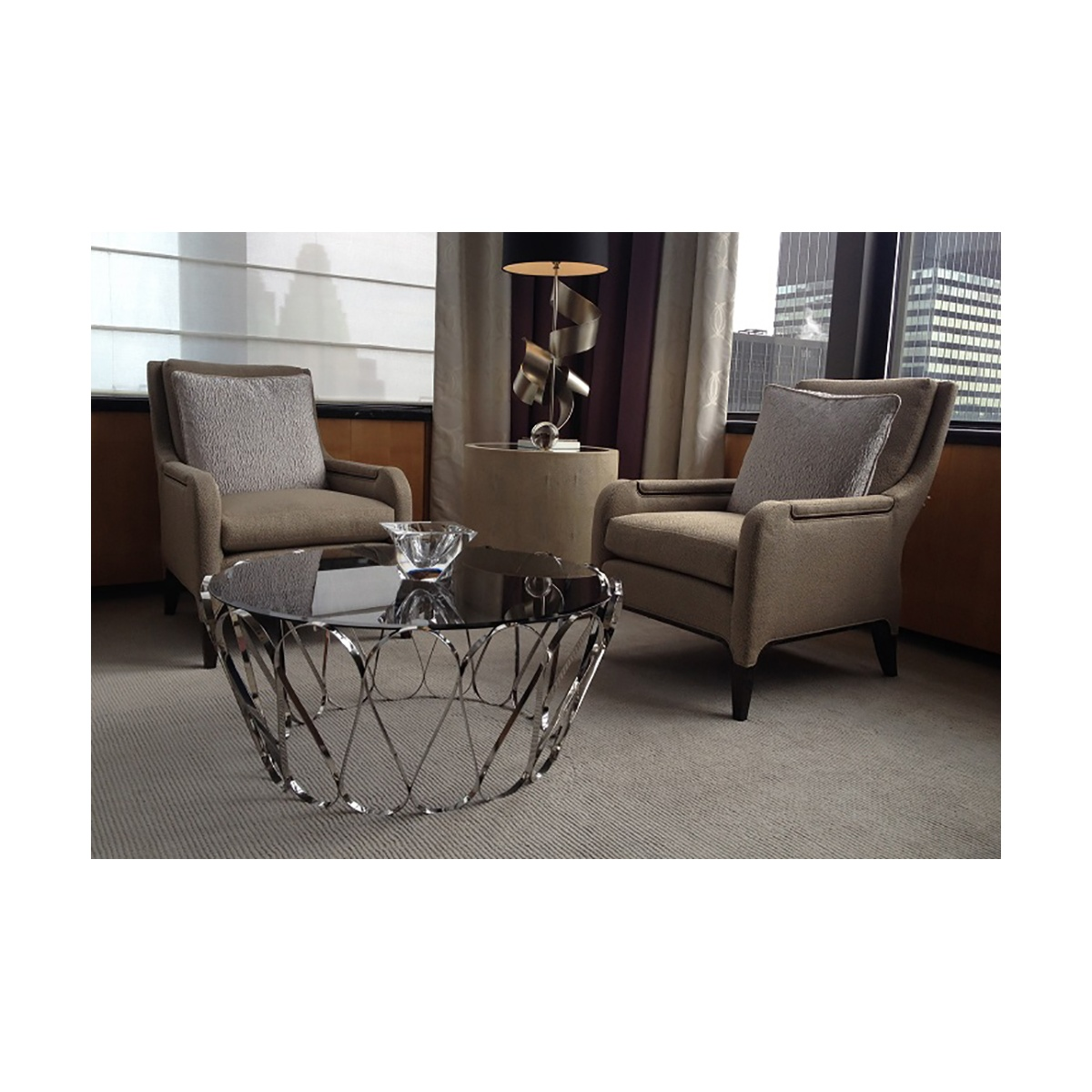 Aquarius Glass Coffee Table, Stainless Steel