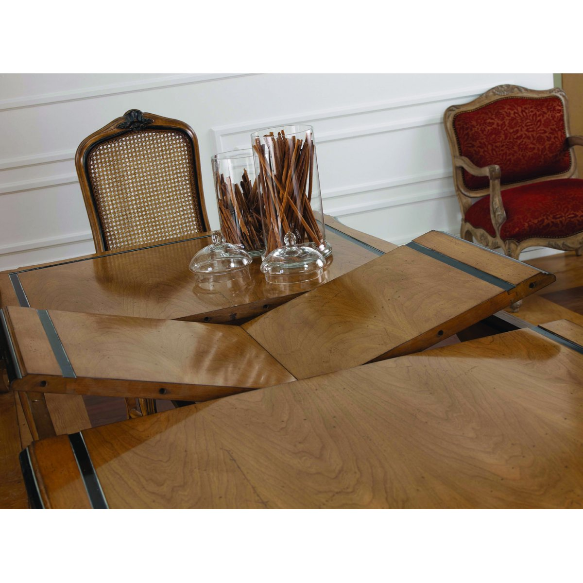 Extending dining table in french style swanky interiors for Furniture in french