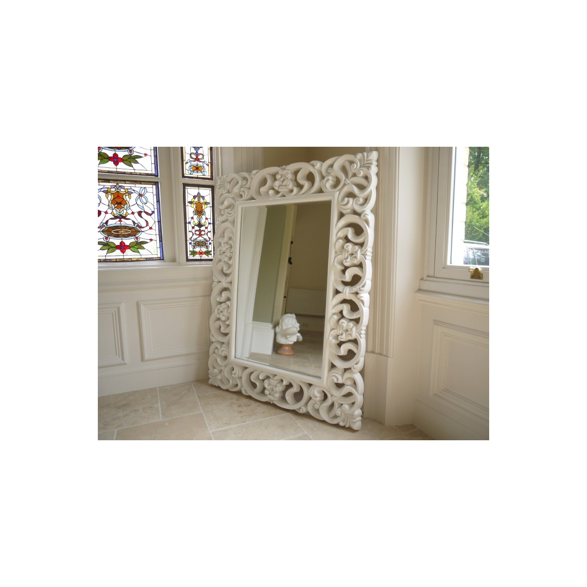 Buy large french white ornate wall mirror swanky interiors for Large white mirror