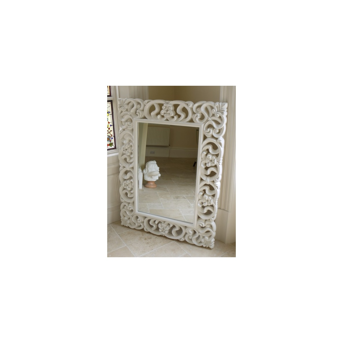 Buy Large French White Ornate Wall Mirror Swanky Interiors