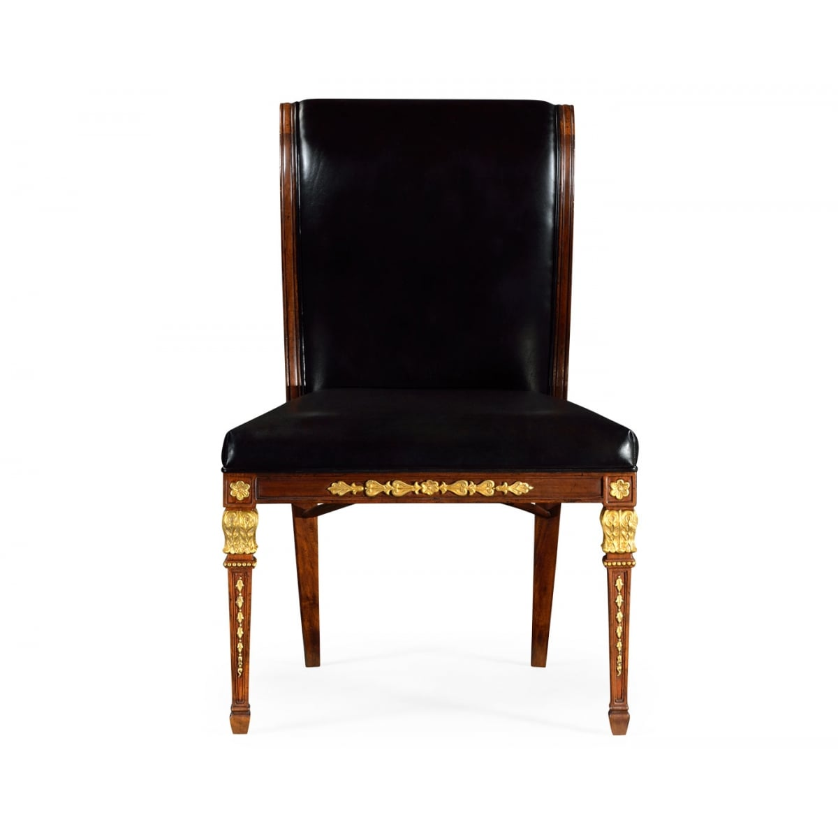 Empire Side Chair With Black Leather Swanky Interiors
