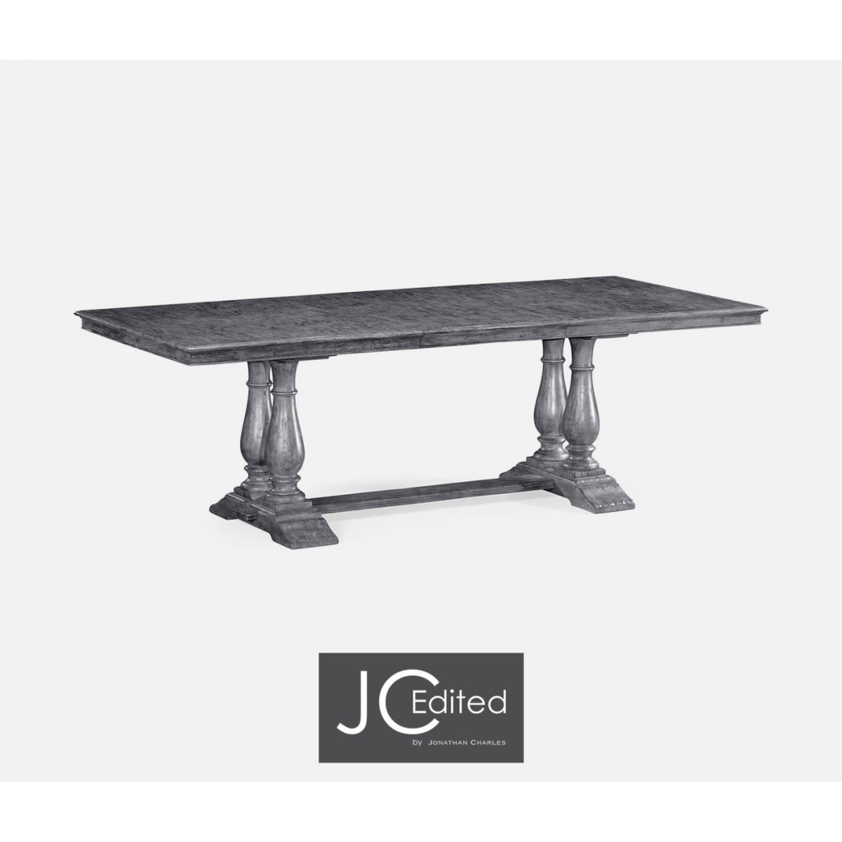 Dark Grey Rectangular Extending Dining Table Swanky