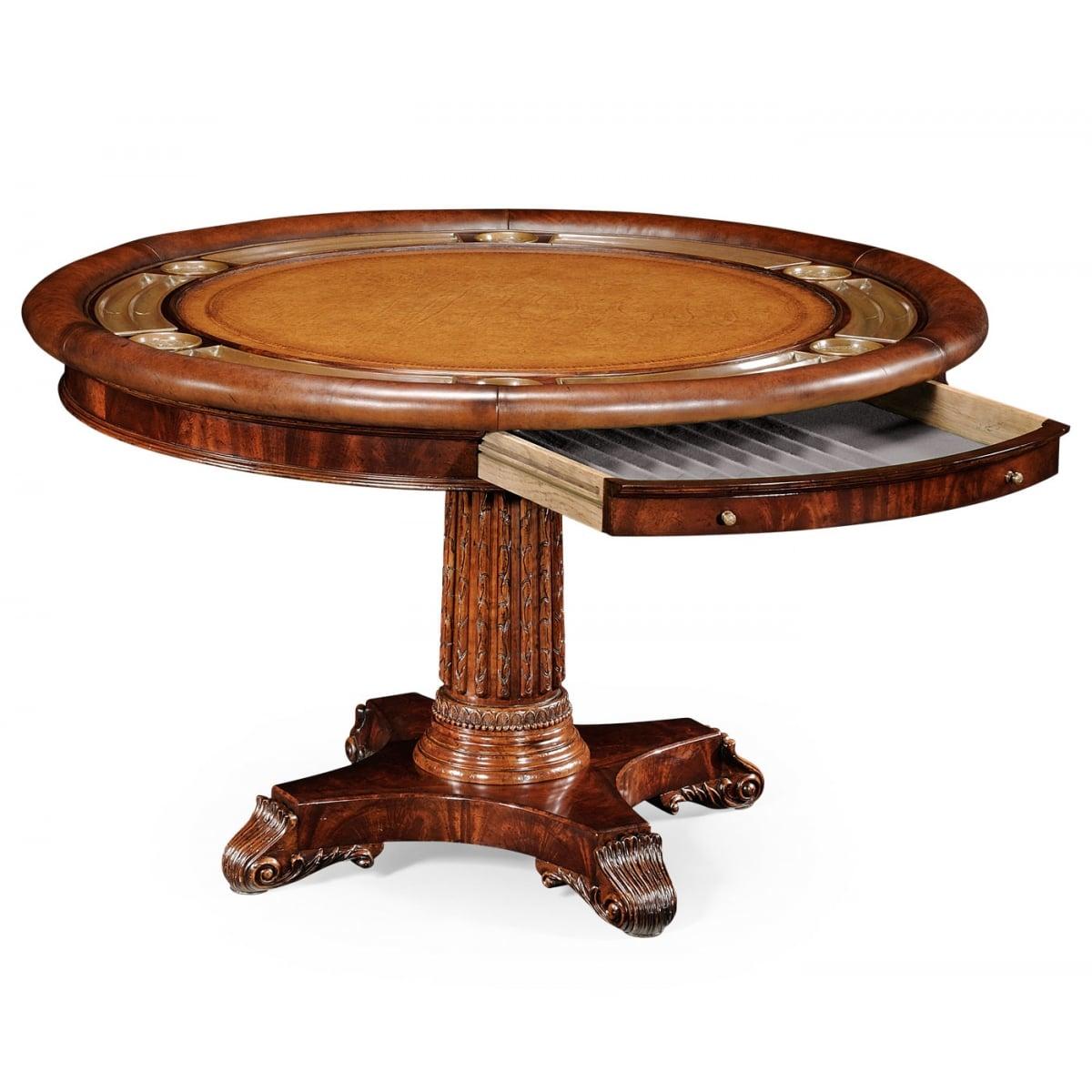Mahogany Card Table Round Poker Table Swanky Interiors