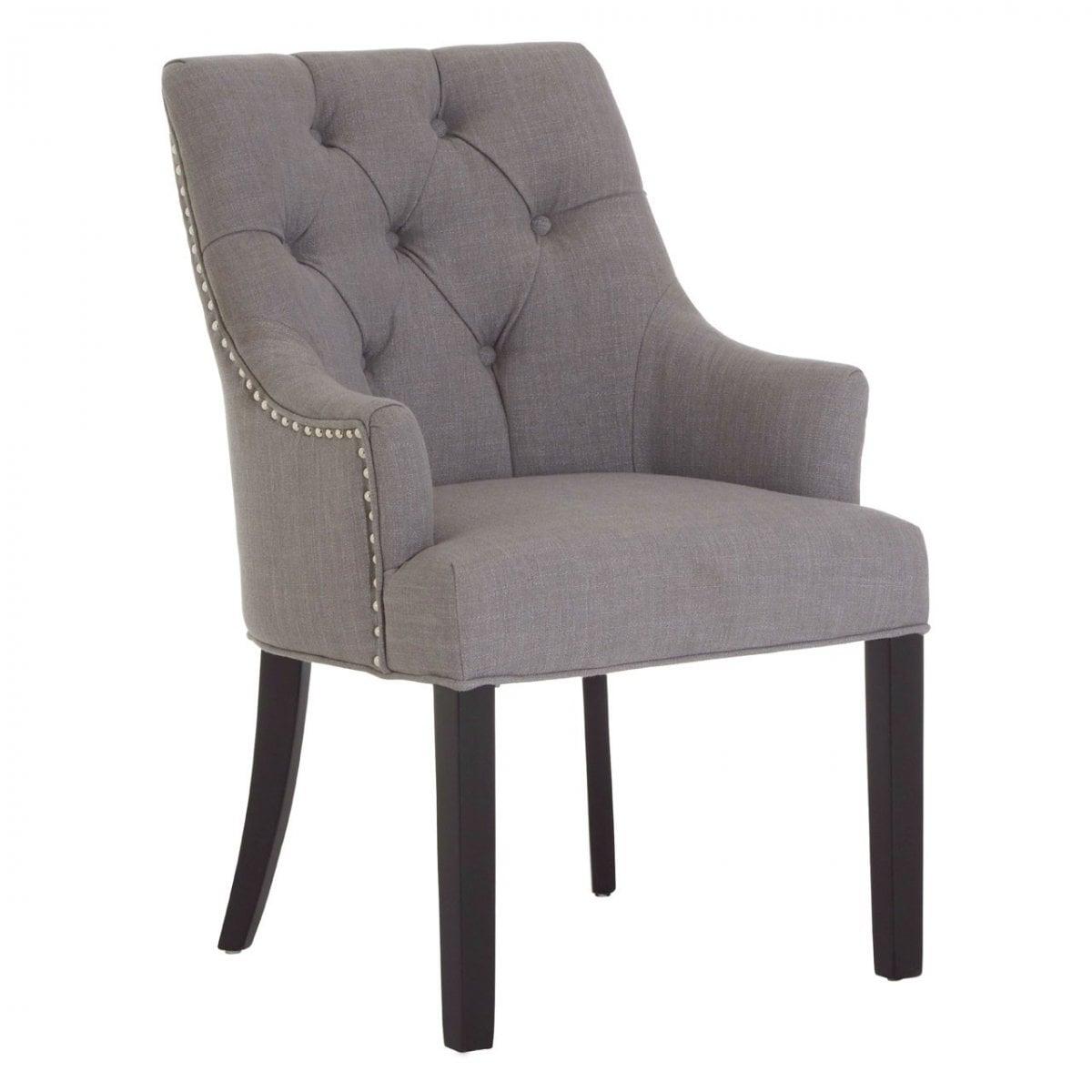 Kensington Studded Pair Of Dining Chairs Grey Swanky