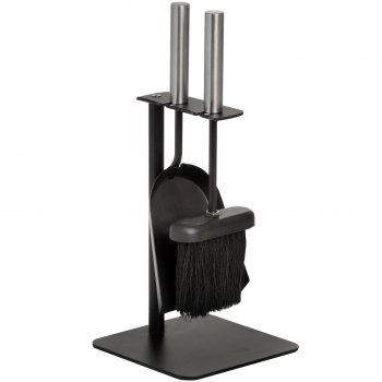 Contemporary Hearth Tidy Set / Modern Black Pan and Brush Set