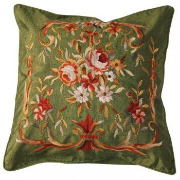 Embroidered Cushion Cover, Green