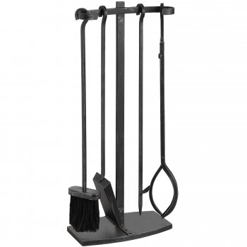 Modern Black Brushed Steel Fire Companion Set/Fire Tools