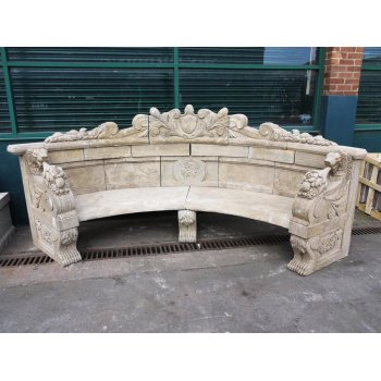 Hand Carved Stone Bench / Large Natural Stone Bench
