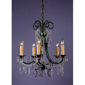 Small 5 Arm Chandelier, Green