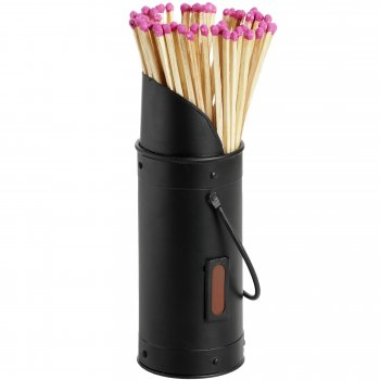Black Matchstick Holder With 60 Matches/Mini Hod Match Holder