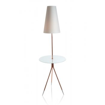 Villa Lumi Lighting Floor Lamp, Glass Side Table With Lamp