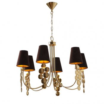 Villa Lumi Lighting Brass Modern Chandelier, Shaded