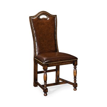 Jonathan Charles Furniture Oak High Back Leather Side Dining Chair