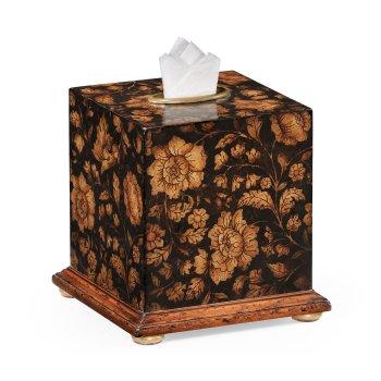 Jonathan Charles Furniture Black Floral Tissue Box, Walnut