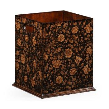 Jonathan Charles Furniture Black Floral Wooden Wastepaper Bin