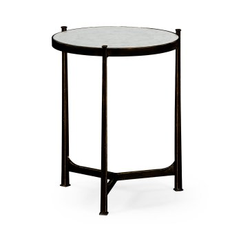 Jonathan Charles Furniture Glass Round Side Table, Black