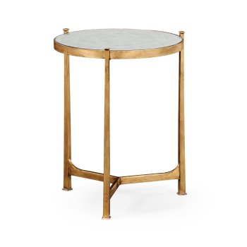 Jonathan Charles Furniture Glass Round Side Table, Gilded