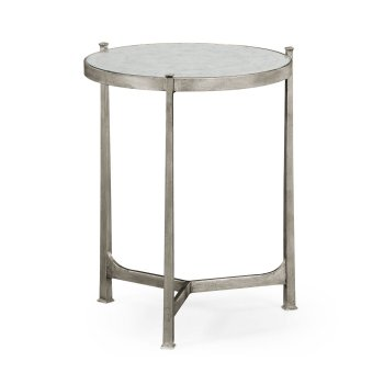Jonathan Charles Furniture Designer Glass Side Table, Silver
