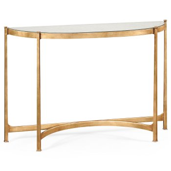 Jonathan Charles Furniture French Glass Demilune Console Table, Gold