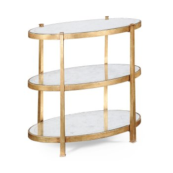Jonathan Charles Furniture 3-Tier Glass Side Table, Gold