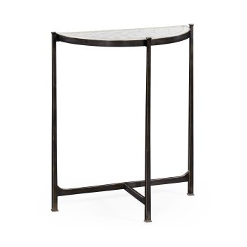 Jonathan Charles Furniture Small Glass Console Table, Black