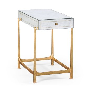 Jonathan Charles Furniture Glass Side Table, Gold/Mirrored Furniture