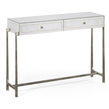 Jonathan Charles Furniture Glass Silver Iron Console Table with Drawers