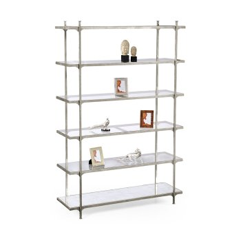Jonathan Charles Furniture Designer Silver Glass Etagere Display Bookcase